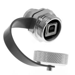 Port Adapter with USB Style B female to Style B female, in a Low Profile M25 housing, UL508A, UL50, UL50E