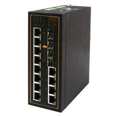 12-Port Managed Ethernet Switch with 4 Combo Gigabit Uplink Ports and 4 PoE Ports, Profinet & Ethernet/IP Ready, Metal Housing