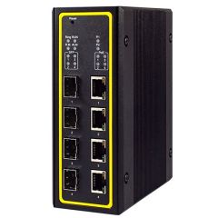 8-Port Managed Gigabit Layer-3 Switch with 4 PoE and 4 SFP, Profinet & Ethernet/IP Ready, Aluminum Housing