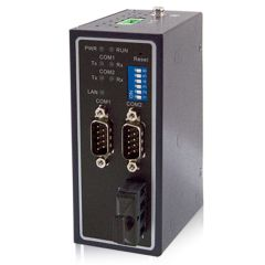 2-Port Serial Device Server with Multimode Fiber Optic LAN, RS-232/422/485, DB9(M), Metal Housing