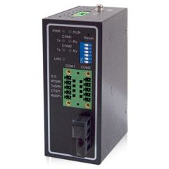 2-Port Serial Device Server with Multimode Fiber Optic LAN, RS-232/422/485, Terminal Block, Metal Housing