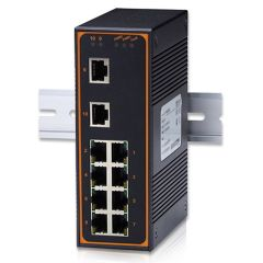 10-Port Unmanaged Ethernet Switch with 2 Gigabit Uplink Ports, Metal Housing