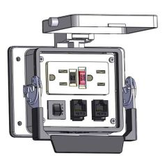 Panel Interface Connector with GFCI Duplex outlet, (2) RJ45, and a 3amp reset, in a 32 housing