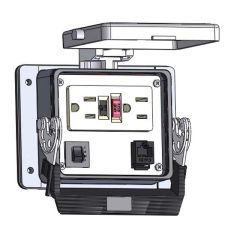 Panel Interface Connector with GFCI Duplex outlet, RJ45, and a 5amp reset, in a 32 housing