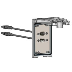 Low Profile Panel Interface Connector with (2) form A USB with 3' Cable, in a Single Cover Housing
