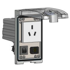 Low Profile Panel Interface Connector with China 10amp outlet, RJ45, a 3amp reset in a Single Cover Housing
