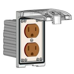 Low Profile Panel Interface Connector with Duplex outlet, in a Single Cover Housing