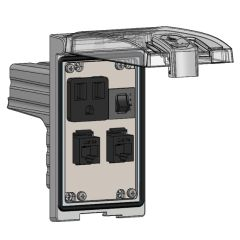 Low Profile Panel Interface Connector with Simplex outlet, (2) RJ45, a 3amp reset in a Single Cover Housing