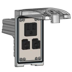 Low Profile Panel Interface Connector with Simplex outlet, (2) RJ45, in a Single Cover Housing