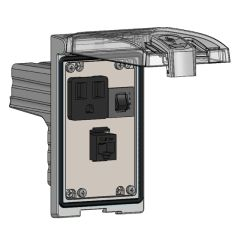 Low Profile Panel Interface Connector with Simplex outlet, RJ45, a 3amp reset in a Single Cover Housing