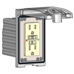 Low Profile Panel Interface Connector with GFCI outlet in a Single Cover Housing