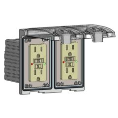 Low Profile Panel Interface Connector with GFCI outlet in a Two-Single Cover Housing