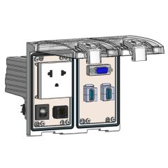 Low Profile Panel Interface Connector with Brazilian outlet, DB9, RJ45, (2) USB-AFAF, a 3amp reset in a Two-Single Cover Housing