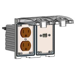 Low Profile Panel Interface Connector with Duplex outlet, form A USB with 10' Cable in a Two-Single Cover Housing