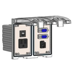 Low Profile Panel Interface Connector with Simplex outlet, (2) DB9, RJ45, a 3amp reset in a Two-Single Cover Housing