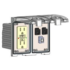Low Profile Panel Interface Connector with GFCI outlet, (2) RJ45, USB-BFAF in a Two-Single Cover Housing