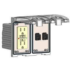 Low Profile Panel Interface Connector with GFCI outlet, (2) RJ45 in a Two-Single Cover Housing