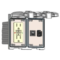 Low Profile Panel Interface Connector with GFCI outlet, RJ45, and a 3amp Reset, in a Two-Single Cover Housing