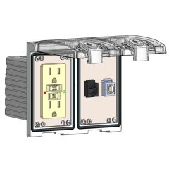 Low Profile Panel Interface Connector with GFCI outlet, RJ45, USB-BFAF in a Two-Single Cover Housing