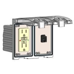 Low Profile Panel Interface Connector with GFCI outlet, RJ45 in a Two-Single Cover Housing