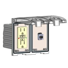 Low Profile Panel Interface Connector with GFCI outlet, Shielded RJ45 in a Two-Single Cover Housing