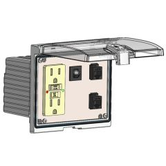 Low Profile Panel Interface Connector with GFCI Duplex outlet, 2 x RJ45, and a 3amp reset, in a Double Cover