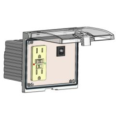 Low Profile Panel Interface Connector with GFCI Duplex outlet, and a 3amp reset, in a Double Cover