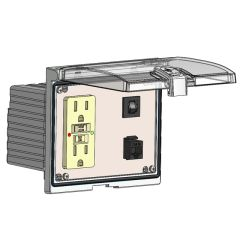 Low Profile Panel Interface Connector with GFCI Duplex outlet, RJ45, and a 5amp reset, in a Double Cover