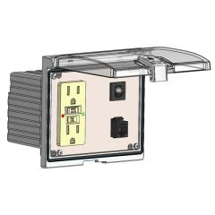 Low Profile Panel Interface Connector with GFCI Duplex outlet, RJ45, and a 3amp reset, in a Double Cover