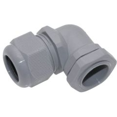 PG21, Plastic Right Angle Cable Glands, Gray, 0.585 - 0.819