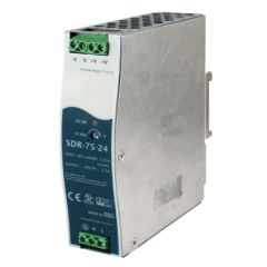 75W/3.2A DIN-Rail 24VDC power supply with universal 88~264VAC / 124~370VDC input, Metal Housing
