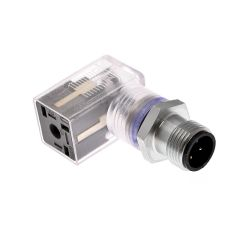 Solenoid Valve Connectors, Field Wireable, 3 Pole, Form C 8mm, with 4 Pole M12 Male Straight, 24V, 6A, LED w/MOV